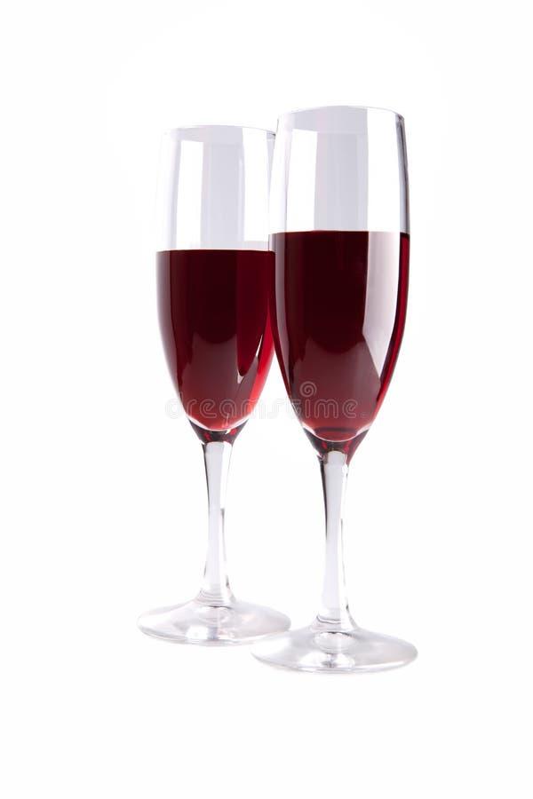 Este é vidros com o vinho vermelho isolado foto de stock