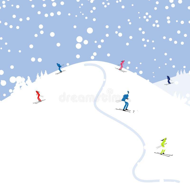 Povos que esquiam, paisagem da montanha do inverno para o seu ilustração do vetor