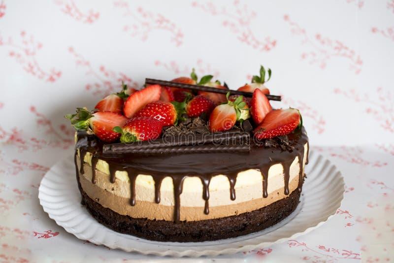 Este bolo triplo da musse de chocolate fotos de stock royalty free