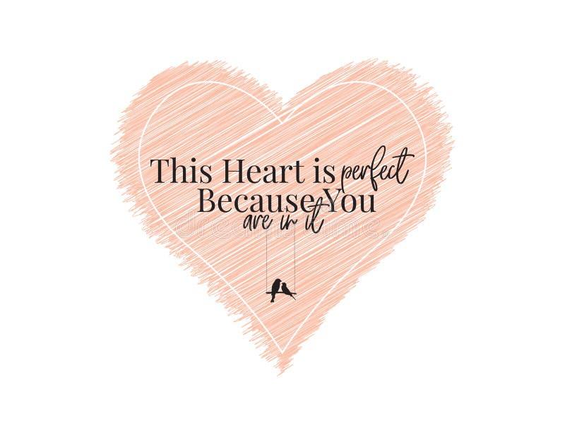 Este coração é causa que perfeita você está nele, vetor do projeto do fraseio, ilustração do coração, rotulação, projeto do carta ilustração stock