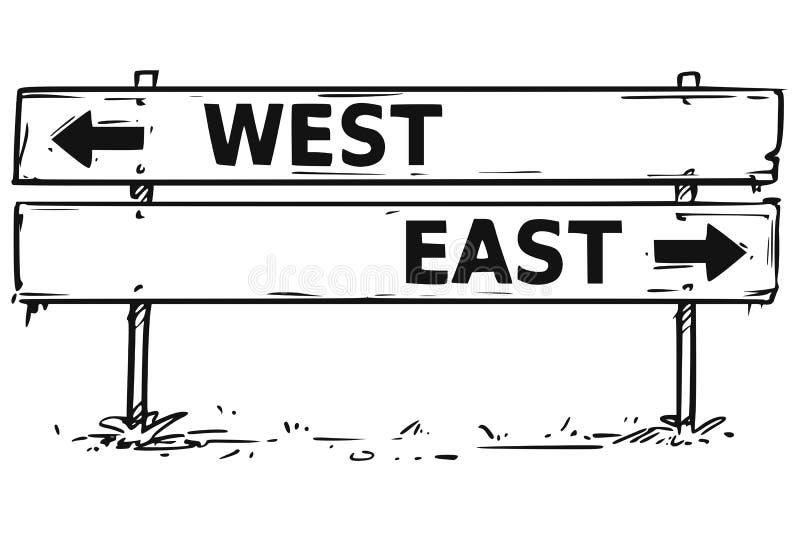 Este del oeste del dibujo de la muestra de la flecha del bloque de camino stock de ilustración
