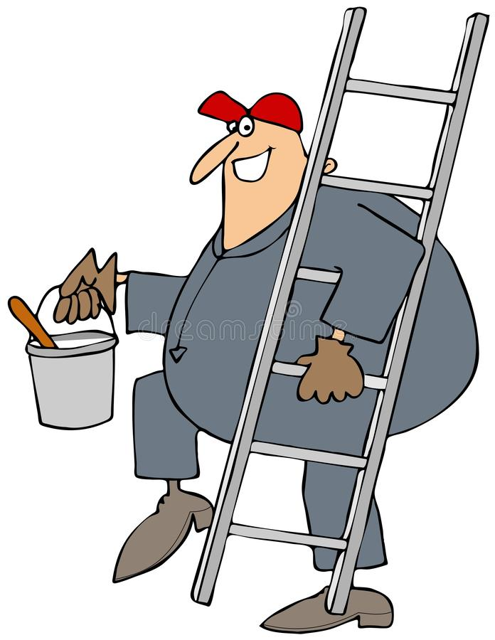 Pintor que lleva una escalera ilustración del vector