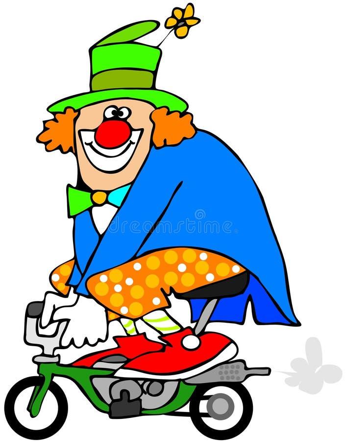 Payaso en una mini bici stock de ilustración