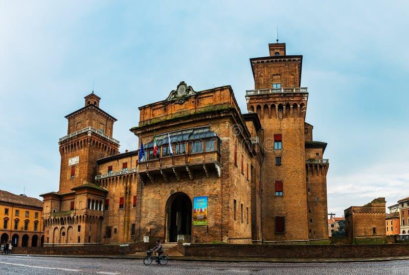 Este kasztel w centrum Ferrara, północny Włochy obraz stock