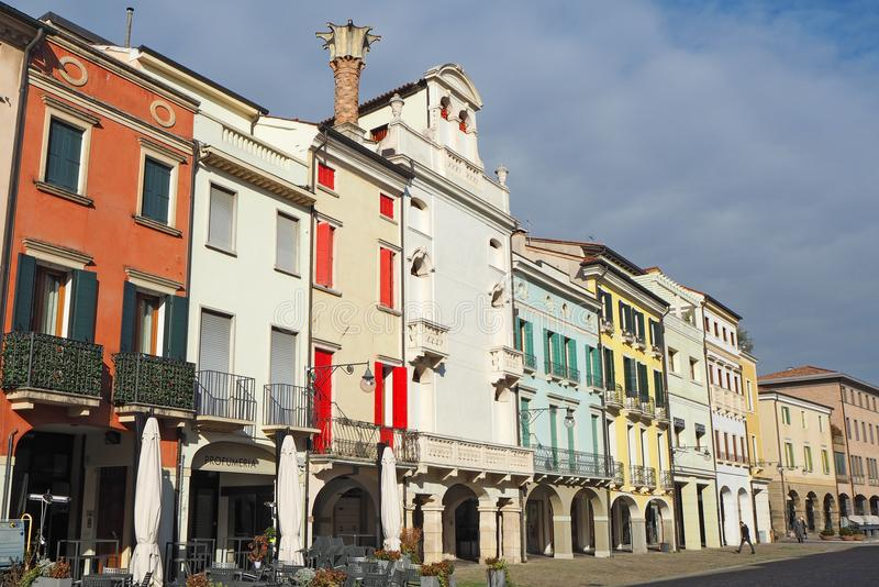 Este, Padova, Italy. The main square and its Venetian style buildings stock image