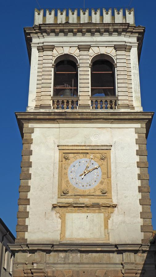 Este, Padova, Italy. The old clock tower used as a door to the village. Este, Padova, Italy. The old clock tower used as a door and gate to the village stock photos