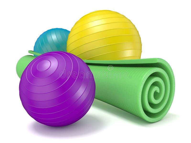 Esteira da aptidão e bola verdes dos pilates 3d ilustração royalty free