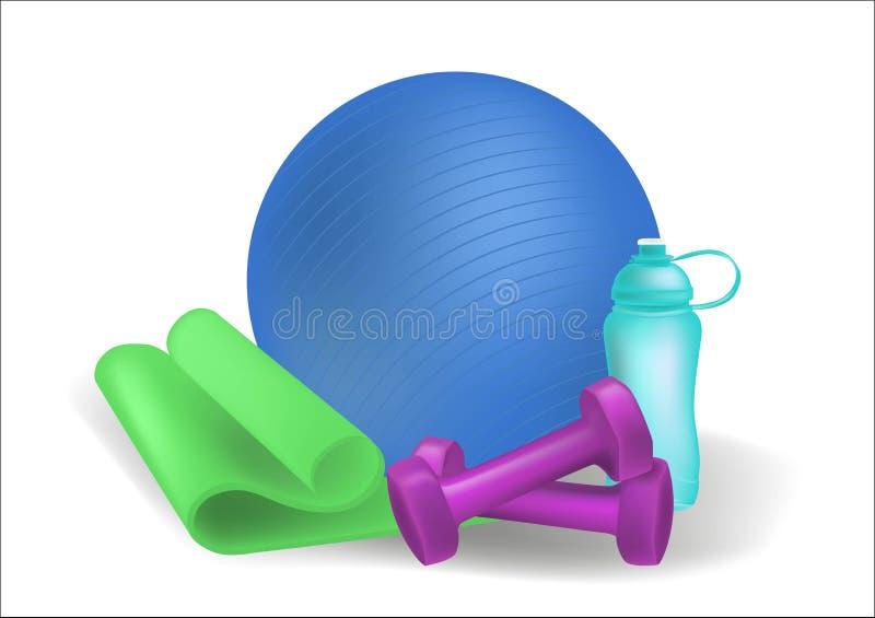 Esteira da ioga de Clipart, bola da aptidão, esportes garrafa de água, pesos Bandeiras horizontais do fitness center ajustadas Eq ilustração do vetor