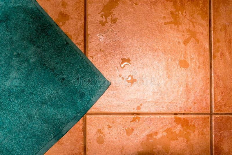 Esteira de banho da cerceta no assoalho telhado molhado fotos de stock