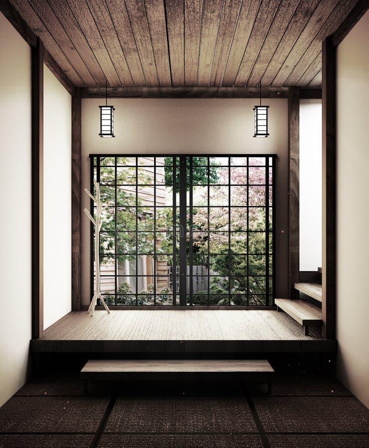 Esteira de tatami vazia japonesa da sala que projeta o mais bonito rendi??o 3d ilustração royalty free