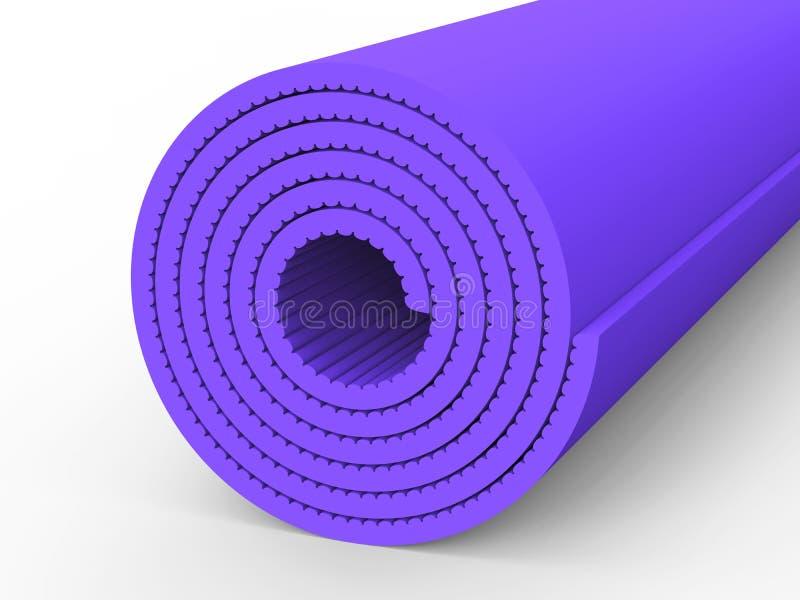 esteira roxa da ioga da ilustração 3D ilustração stock