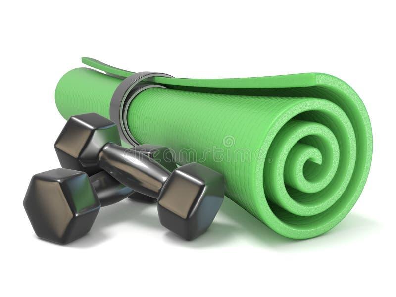 Esteira verde da aptidão e pesos pretos 3d ilustração royalty free