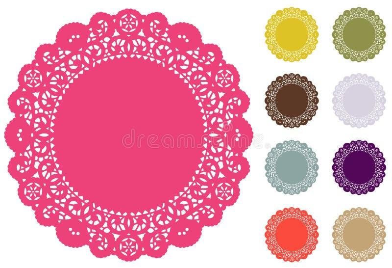 Esteiras de lugar do Doily do laço, cores da forma de Pantone ilustração stock