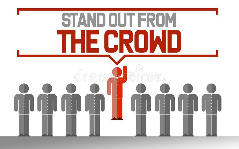 Esteja para fora do conceito original do negócio da multidão ilustração do vetor
