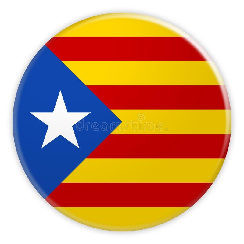 Estelada Blava加泰罗尼亚的分离主义旗子按钮,加泰罗尼亚独立徽章,3d在白色背景的例证 向量例证