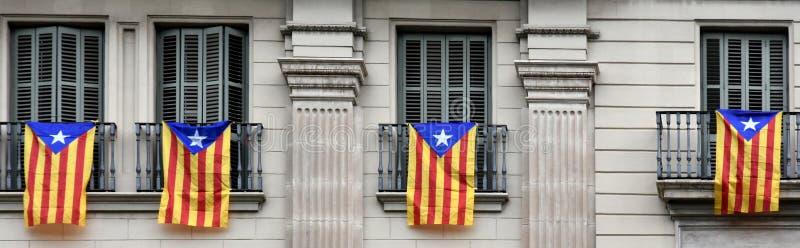 Estelada den Catalan separatistflaggan arkivbild
