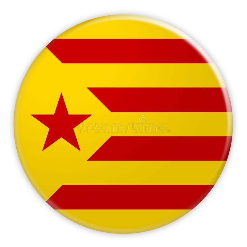 Estelada Groga Catalan Flag Button, Catalonia Independence News Concept Badge, 3d illustration. On white background vector illustration