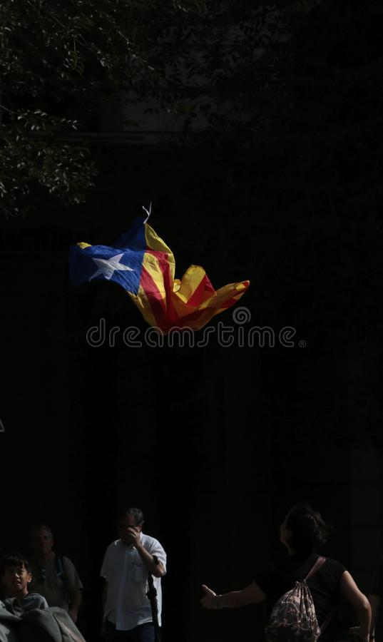 Estelada flag flying in barcelona the day after the independence referendum. royalty free stock photography