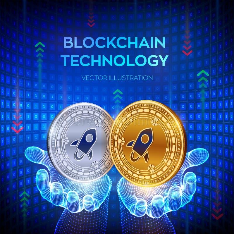 estelar Blockchain moneda f?sica del pedazo 3D Concepto de la cadena de bloque Moneda de Digitaces Monedas de oro y de plata con  libre illustration