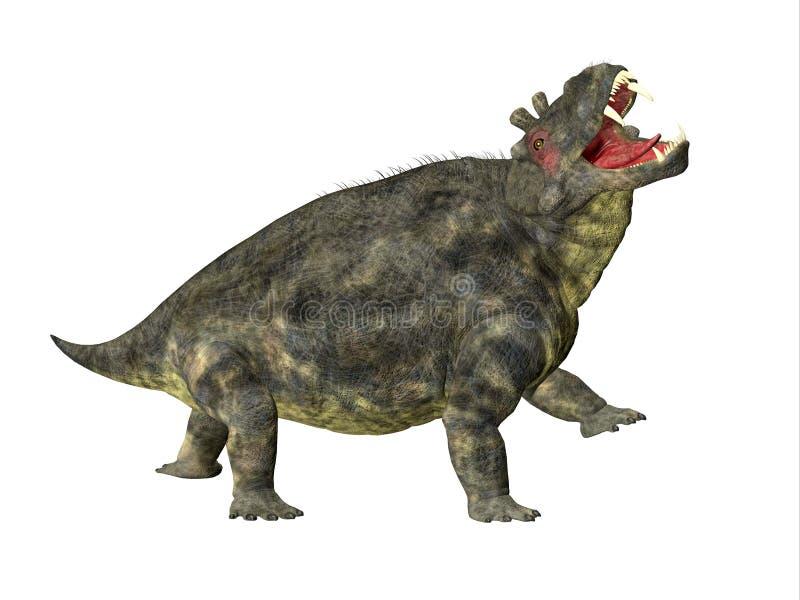 Estemmenosuchus uralensis Dinosaur Side Profile. Estemmenosuchus uralensis was an omnivorous therapsid dinosaur that lived in the Permian Period of Russia vector illustration