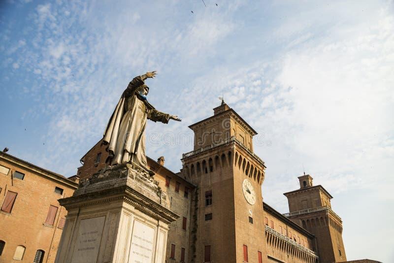 Estense城堡在费拉拉在意大利 图库摄影