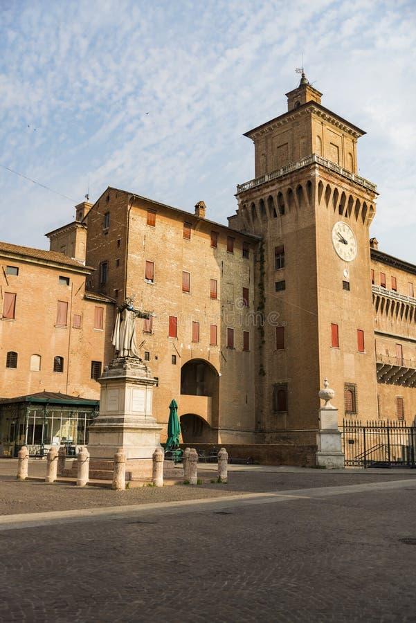 Estense城堡在费拉拉在意大利 库存照片