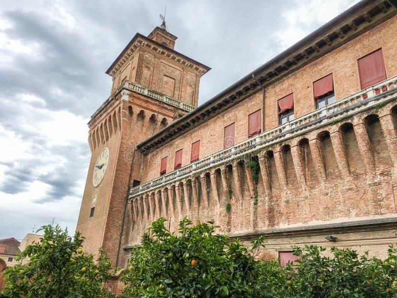 Estense城堡在费拉拉,意大利 免版税图库摄影