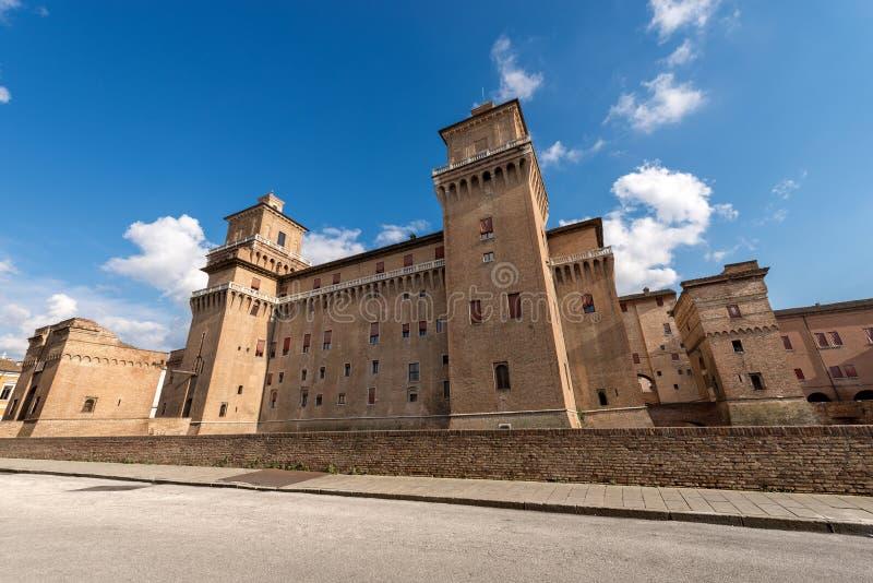 Estense城堡-费拉拉伊米莉亚罗马甘-意大利 免版税库存照片