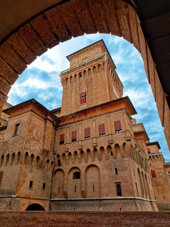 Estense Średniowieczny Grodowy Ferrara Włochy obraz royalty free