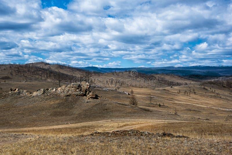 Estepe largo com grama amarela sob um céu azul com o estepe branco de Tazheran das nuvens, Sibéria Rússia fotografia de stock royalty free