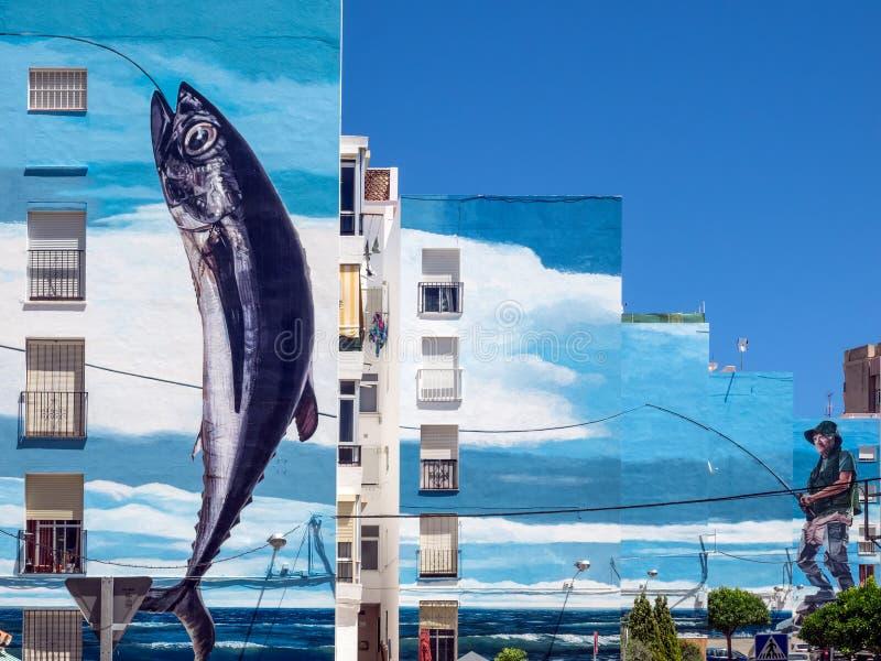 ESTEPONA, ANDALUCIA/SPAIN - 5 ΜΑΐΟΥ: Αλιεία της τοιχογραφίας ημέρας από το Φε του Jose στοκ φωτογραφίες με δικαίωμα ελεύθερης χρήσης