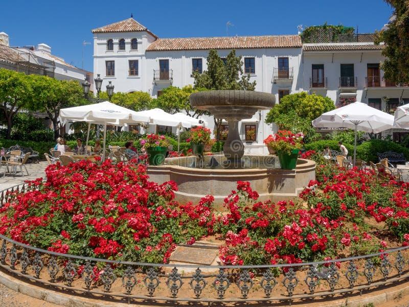 ESTEPONA, ANDALUCIA/SPAIN - 5 ΜΑΐΟΥ: Τετράγωνο λουλουδιών Estepona SP στοκ φωτογραφία
