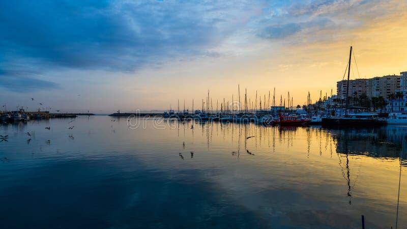 Estepona-Hafen bei Sonnenuntergang stockbild