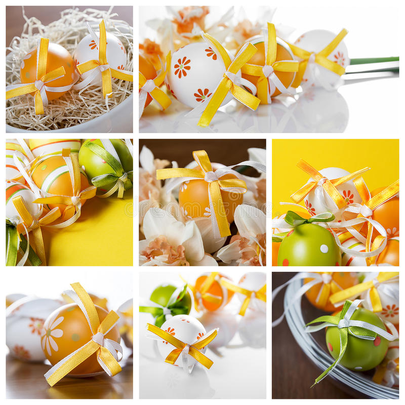 Ester eggs collage stock photography