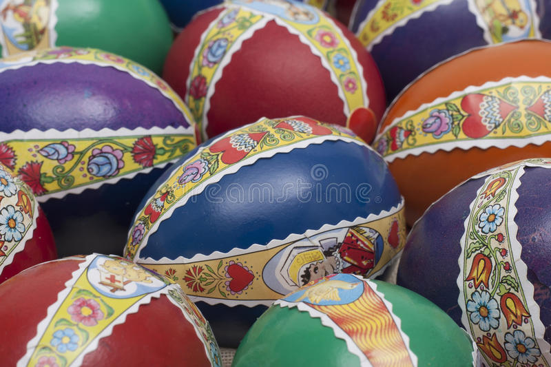 Ester eggs with decoration detail. Ester eggs with decoration basket and stickers royalty free stock photo