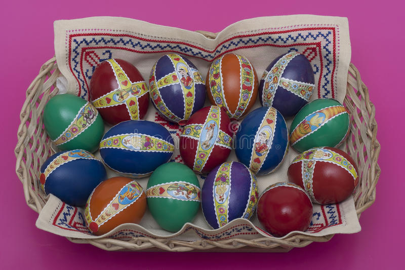 Ester eggs with decoration detail. Ester eggs with decoration basket and stickers stock images