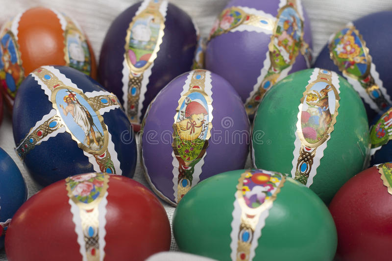 Ester eggs with decoration. Detail macro stock photo