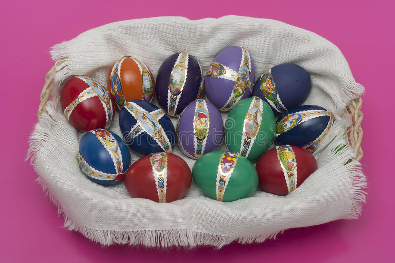 Ester eggs with decoration new. Ester eggs with decoration basket and stickers royalty free stock image