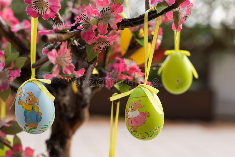 Ester eggs on tree royalty free stock photography