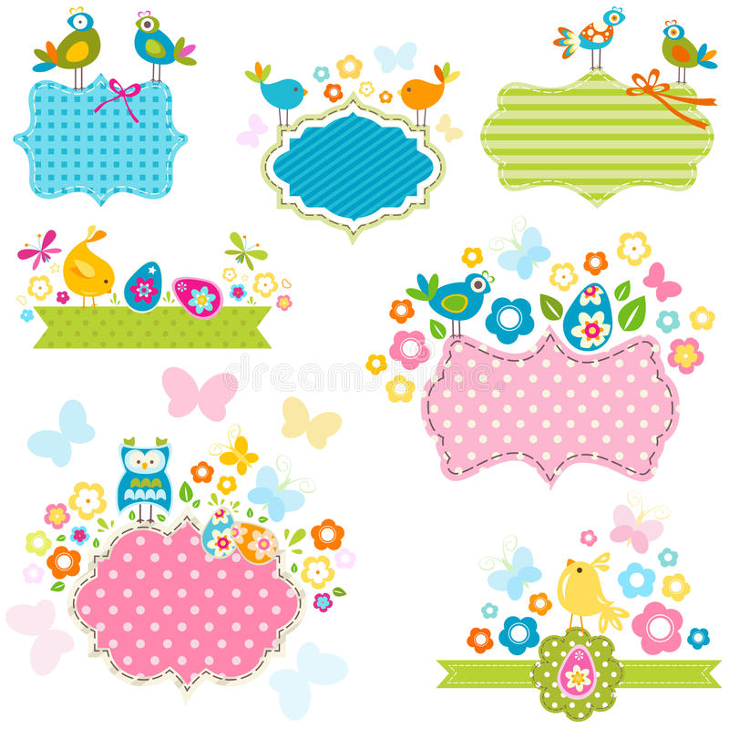 Ester frames. Easter frames set with birds and flowers vector illustration