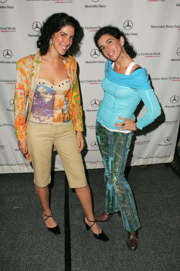 Ester Nash and her sister attending the first day of Mercedes-Benz Fashion Week. Smashbox, Culver City, CA. 10-16-05 stock photography