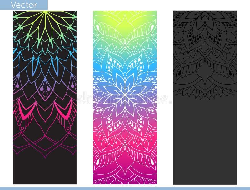 Estera de la yoga del diseño Elementos de la mandala Modelo oriental encendido en fondo negro, del grafito y del arco iris ilustración del vector