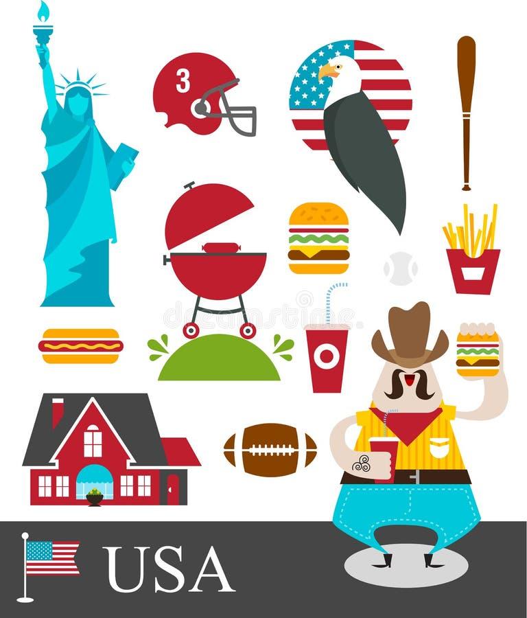 Estereótipos americanos ilustração stock