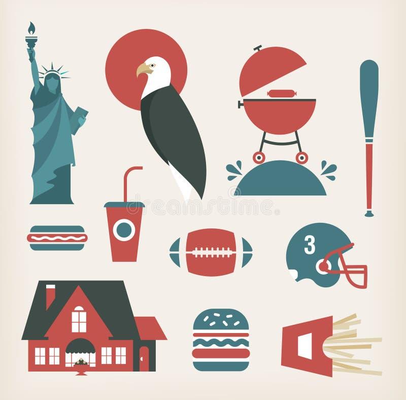 Estereótipos americanos ilustração do vetor