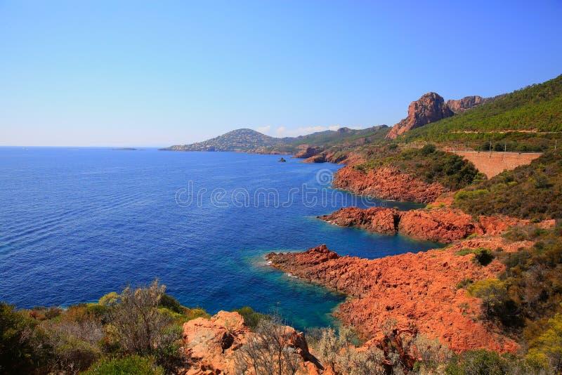 Esterel skał śródziemnomorski czerwony wybrzeże fotografia stock