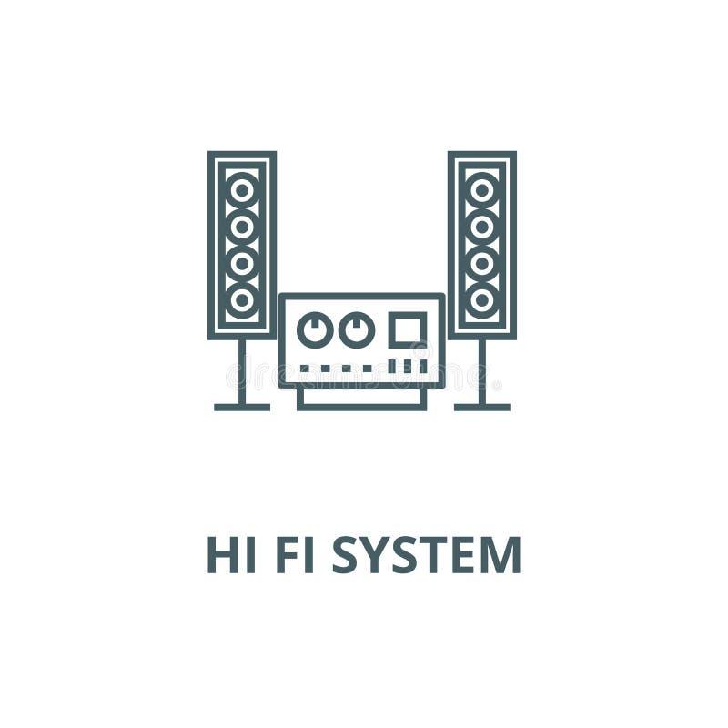 Estereofônico, sadio, olá! linha ícone do vetor do sistema do fi, conceito linear, sinal do esboço, símbolo ilustração royalty free