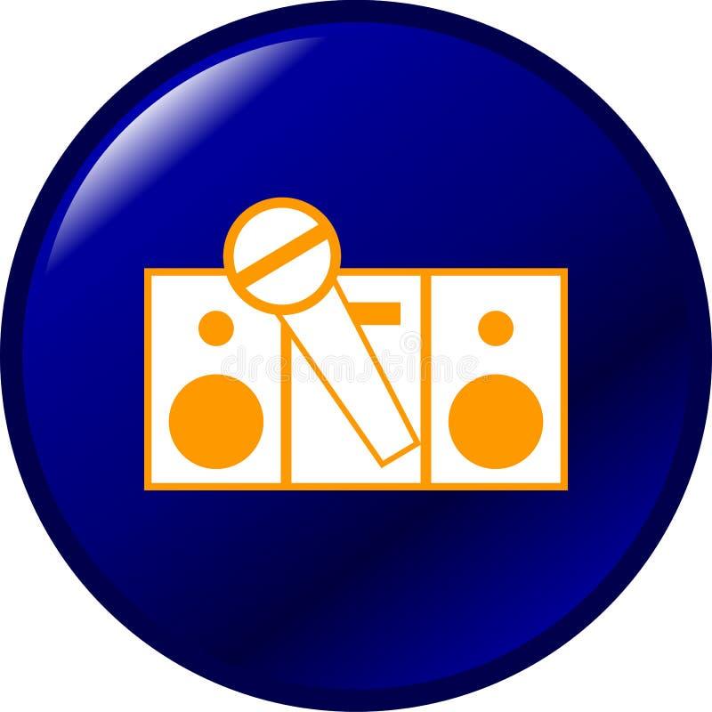 Estereofonia del Karaoke y botón del vector del micrófono ilustración del vector