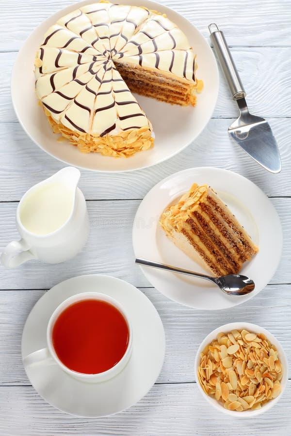 Esterhazy torte, autentiskt recept, bästa sikt royaltyfria foton