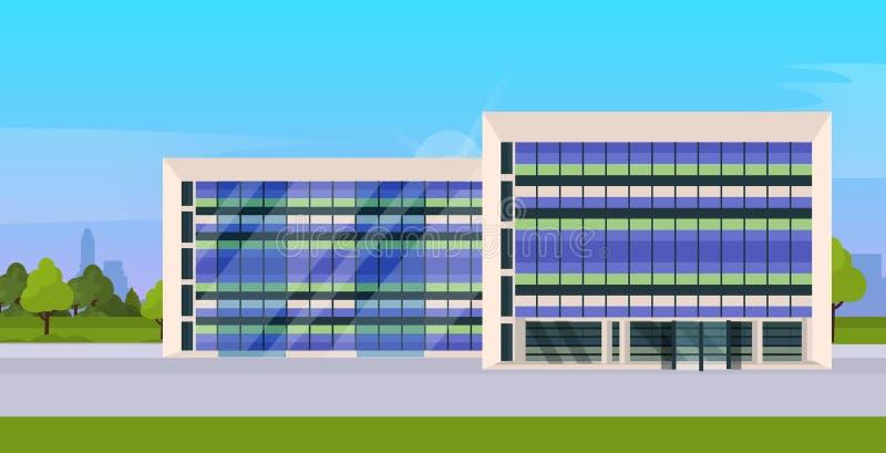 Esterno corporativo moderno dell'edificio per uffici di architettura con le grandi finestre panoramiche pianamente illustrazione vettoriale