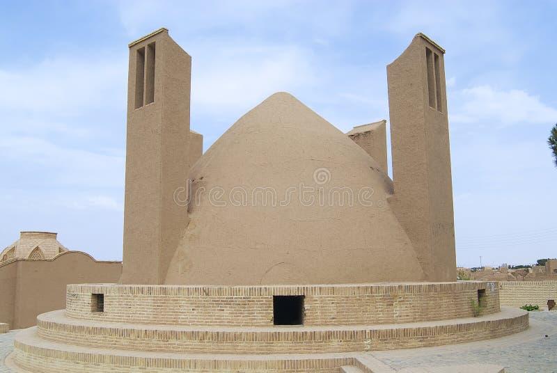 Esterno del badgir (torre di cattura del vento) in Yazd, Iran fotografia stock